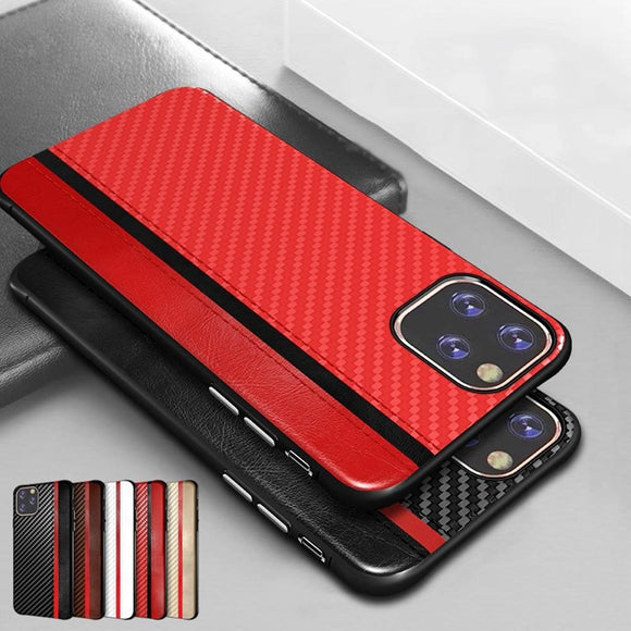 Carbon Fiber PU Leather Case For iPhone 11 Pro MAX X XR XS