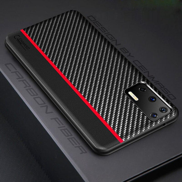 For Huawei P40 Case Original Carbon Fiber Leather Back Cover