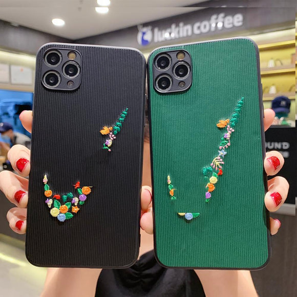 Embroidery Pattern Silicone Sports Phone Case for iPhone 11 Series