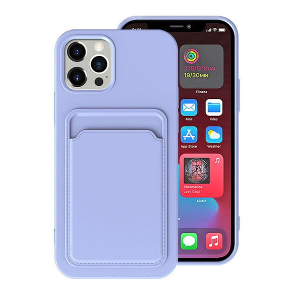 Silicone Case Integrated Card Bag For iPhone 12 11 Pro Max