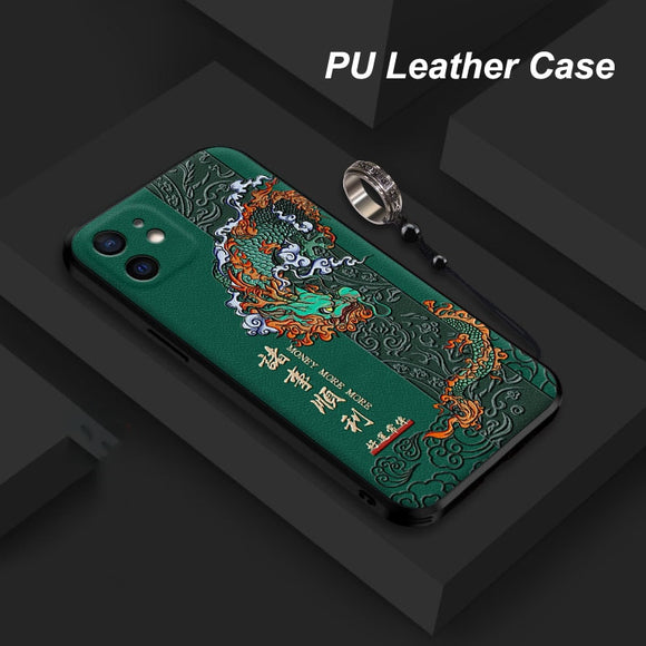 3D Embossed PU Leather Dragon Phoenix Anti knock Cover with Metal Ring for iPhone 12 11 Series