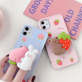 3D Cartoon Rabbit Bear Peach Strawberry Holder Stand Silicone Soft Case for iPhone 11 Series