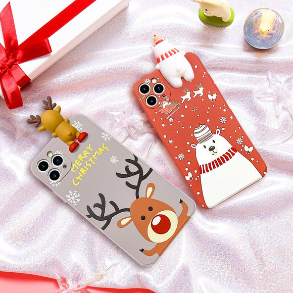 Christmas Gift Cartoon Deer & Snowman Soft Silicone Cover Phone Case For iPhone 11 Series