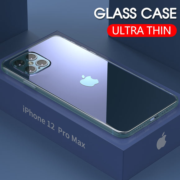 Luxury Ultra-thin Tempered Glass Case For iPhone 12 Series