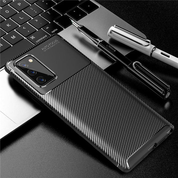 Soft Silicone Carbon Fiber Full Coverage Case For Samsung Galaxy Note 20 Series