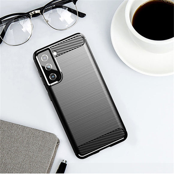 Rubber Silicone Carbon Fiber Cover Case For Samsung Galaxy S21 Series