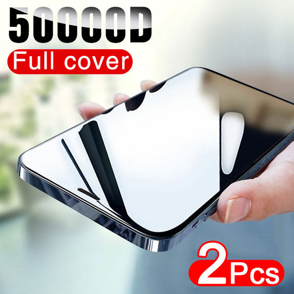 50000D 2PCS Full Cover Tempered Glass Screen Protector For iphone 12 11 Series
