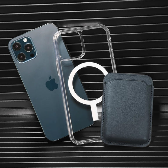 2 in 1 Transparent Magnetic Case + Magsafe Magnet Card Holder for iPhone 12 & 11 Series