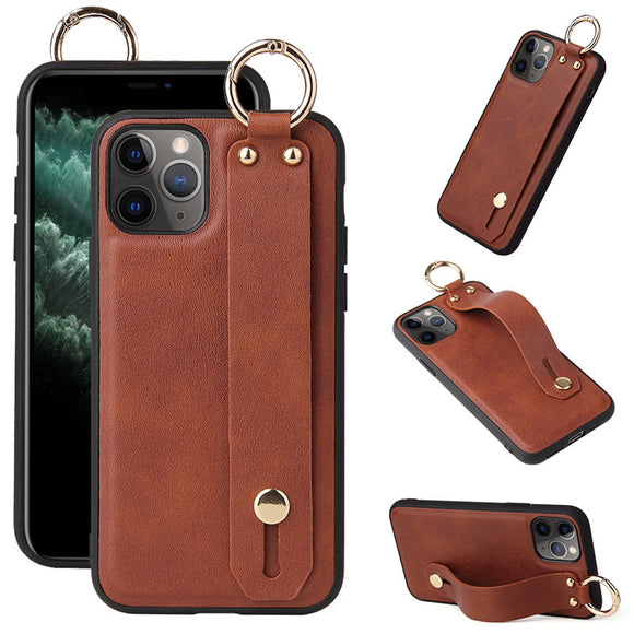 Wrist Strap Stand Holder PU Leather Phone Case For iPhone 12 Series