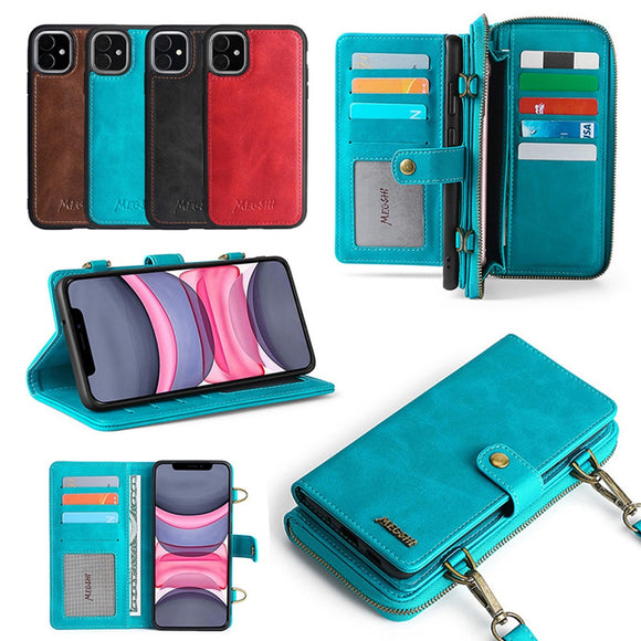 Wallet Leather Phone Case with Shoulder Strap Case For iPhone 12 Series