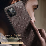 Genuine Leather Rhombus Grain Phone Cases For iPhone 12 Series