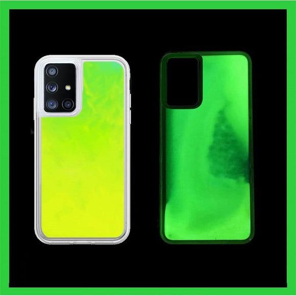 Liquid Luminous Neon Sand Transparent Heavy Duty Protection Case For Samsung S20 Series