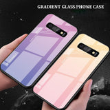 Gradient Glass Back Case for Samsung S10 Plus S10 S10E With Silicon Frame