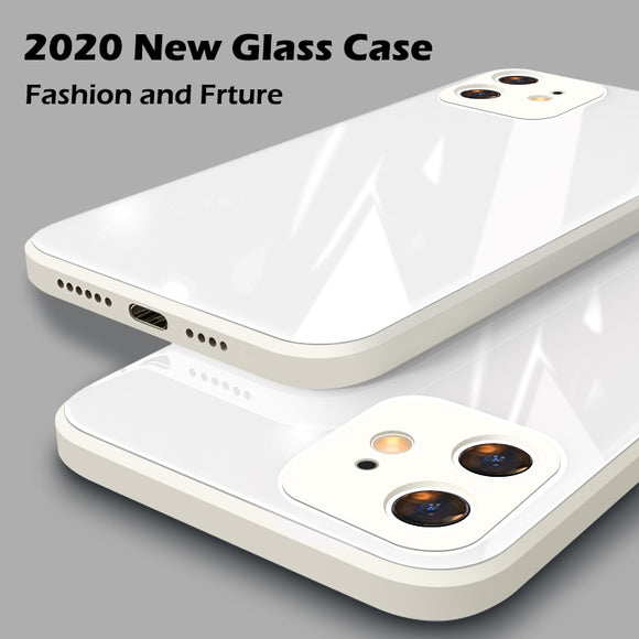 Square Tempered Glass Case Anti knock Baby Skin Fram Cover For iPhone 11 Series