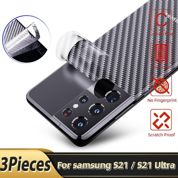 Carbon Fiber Back Screen Protector Sticker Film for Samsung Galaxy S21 Series