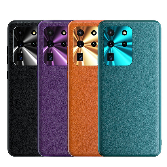 Luxury PC Imitation Leather Cover Camera Metal Lens Protection Case For Samsung S20 Series