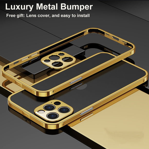 Original Luxury Aluminum Metal Bumper Case Camera Lens Protection Cover for iPhone 12 Series