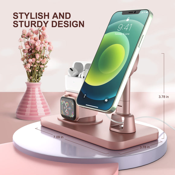 3 in 1 Magnetic Wireless Charger Fast Charging Station For iPhone 12 Apple Watch Airpods