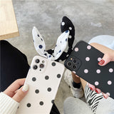 Cute Art Bowknot Wave Point Korean Soft Silicone Phone Case For iPhone 12 Series