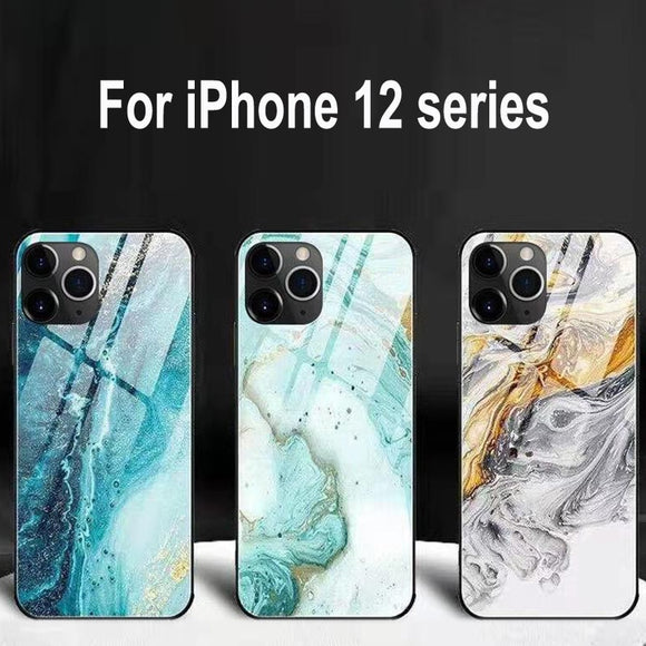Luxury Marble Glass Silicone Phone Case for iPhone 12 11 Pro MAX