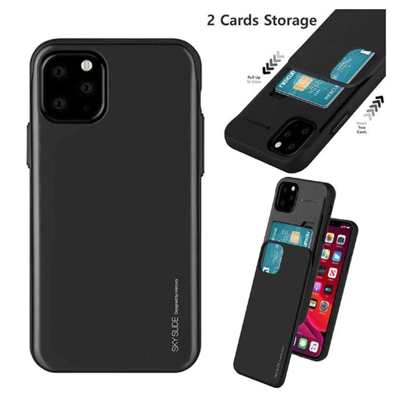 Original Mercury Slide Bumper Back with Slot Card Holder Wallet Hard Case Cover for iPhone 12 Series