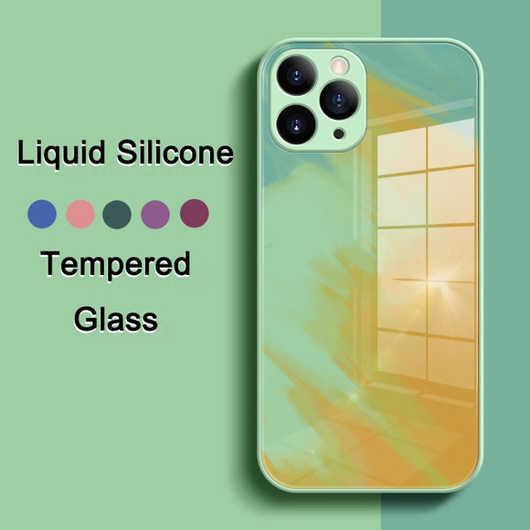 Watercolor Liquid Silicone Lens Protect Tempered Glass Case for iPhone 12 11 Series
