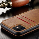 Retro Magnetic Card Stand Wallet Case For iPhone 12 11 Series