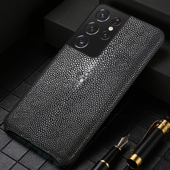 Luxury Stingray Genuine leather Phone Case For Samsung S21 S20FE S20 Ultra
