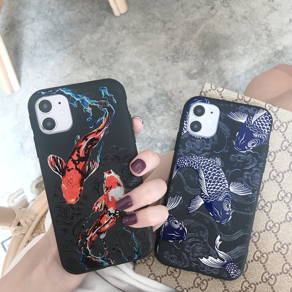 Koi Fish Soft Rubber Protective Case For iPhone 12 11 Series