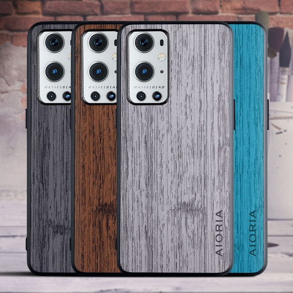 Simple Wood Texture PU Leather Soft Anti knock Protective Back Cover Case for Oneplus 9 Pro 5G 9Pro 8T 8