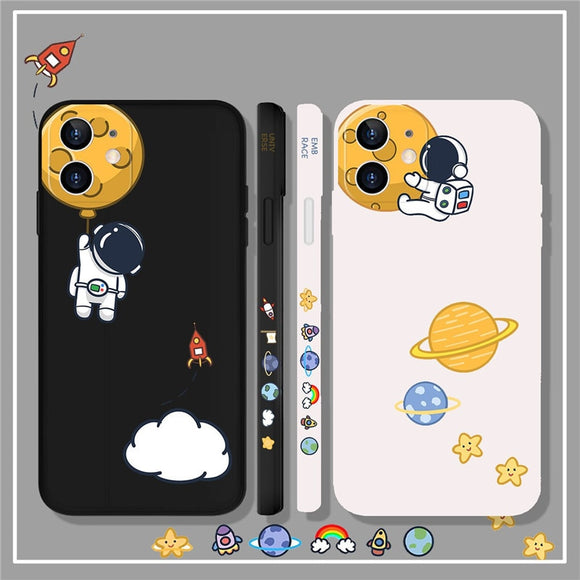 Liquid Silicone Astronaut Spaceship Frame Phone Case for iphone 12 11 Series
