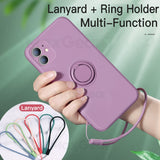 Ultra Thin Silicone Magnetic Holder with Finger Ring Bracket Cover Phone Case For iPhone 12 Series