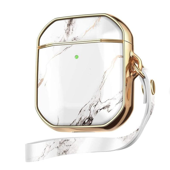 Full Body Protective Stylish Marble Design Luxury AirPods Case with Lanyard