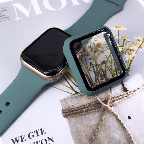 Plastic Bumper Frame Case with Glass Film for Apple Watch Series  1