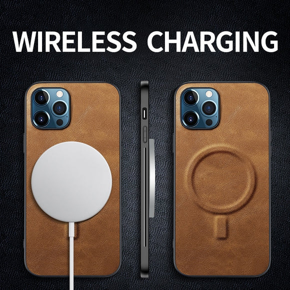 Luxury Magsafe Wireless Charging Silicone PU Leather Phone Case For iPhone 12 11 Series