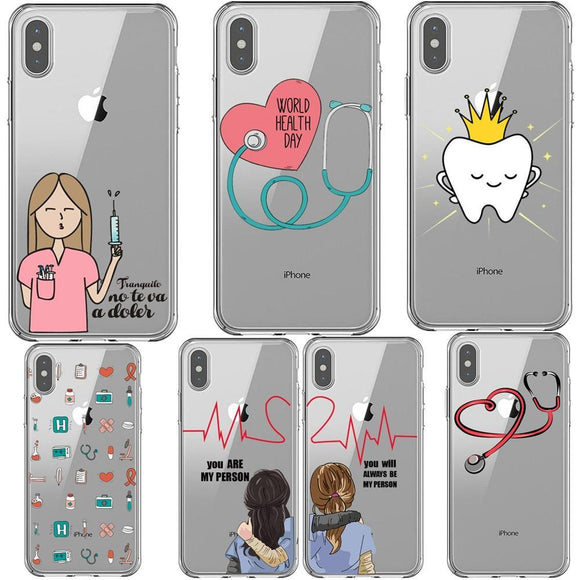 Cartoon Medicine Doctor Nurse Case For iPhone 7 8 Plus Xs XR MAX X