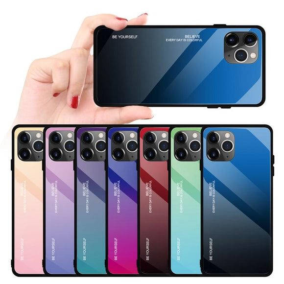 Colorful Protective Glass Case for iPhone 11 Pro Max