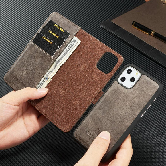 Retro Magnetic 2 in 1 Luxury Detachable Leather Wallet Case For iPhone 11 Pro Max