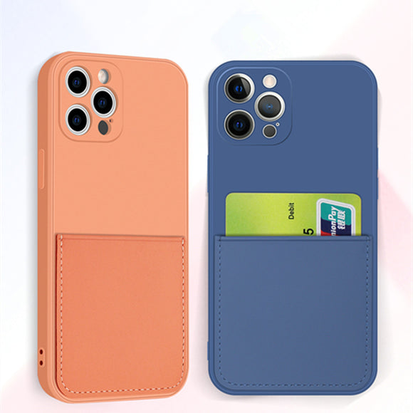 Silicone Phone Case with Card Holder Wallet Soft Coverfor iPhone 12 11 Pro Max