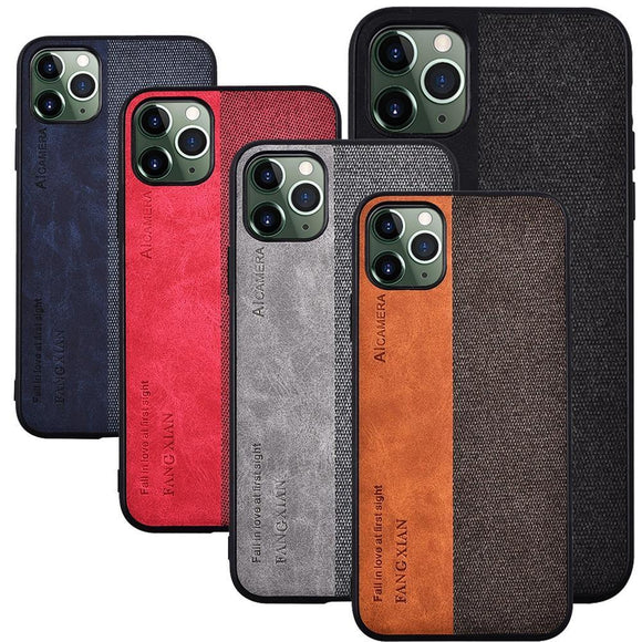 Fabric Cloth Texture Splice Leather Grain Heavy Duty Protection Case For iPhone 11 Pro MAX X XS XR