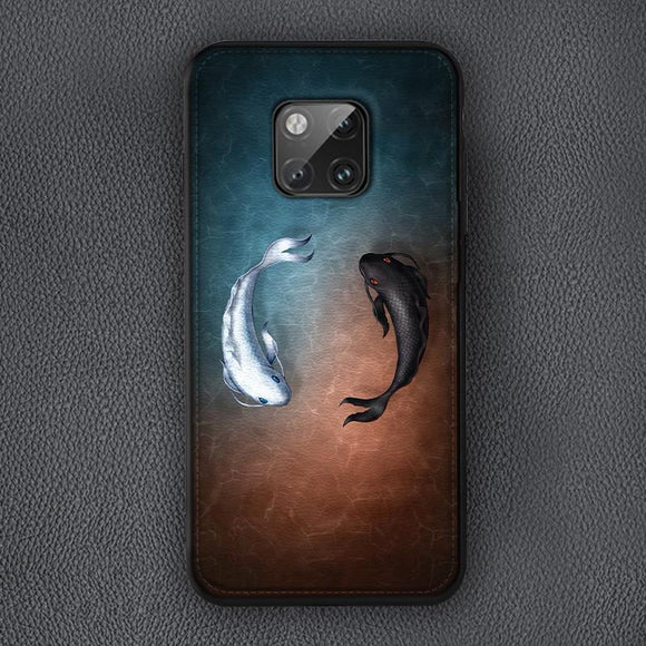 Luxury Fashion Fishes Soft Leather Anti-knock Shock-Proof Case For Huawei Mate 20 Pro P20 P30 Pro Mate 10 20 Pro