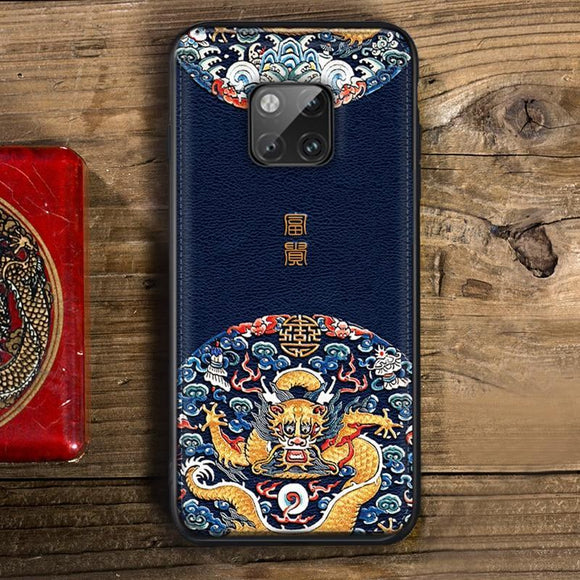 Luxury Soft Leather Case Traditional Auspicious Protective Cover Anti-knock Shock-Proof For Huawei Mate 20 Pro Mate10 Mate20 X