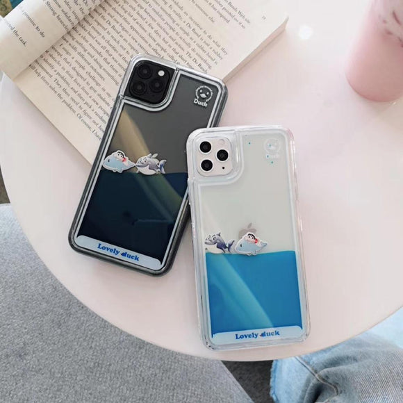 Lovely Cartoon Duck Dynamic Liquid Quicksand Capinha for iPhone 11 Series