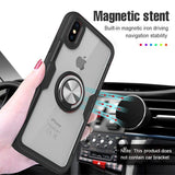 Luxury Car Holder Ring Case For iPhone X XS XR Max Bumper Frame Glass Back
