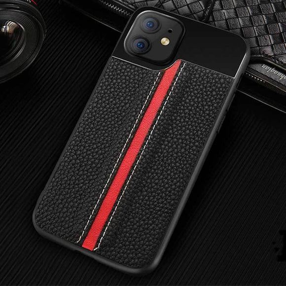Luxury Genuine Litchi Grain Leather Aviation Metal Stitch Heavy Duty Protection Case For iPhone 11 11 Pro Max