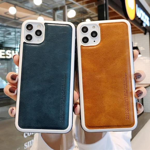 Luxury Ultra Thin Leather Skin Case For iPhone 11 Pro Max