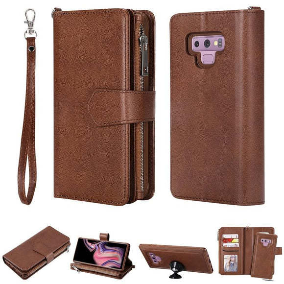 Luxury Zipper Wallet 2 in 1 Leather Case For Galaxy Note 8 Note 9