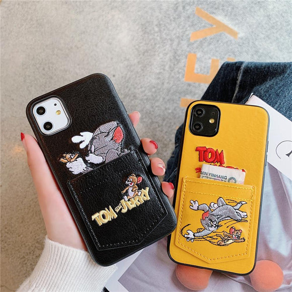 Luxury Cartoon Cute Pocket Leather Anti-knock Case for iPhone 11 Pro Max XS MAX X XR X