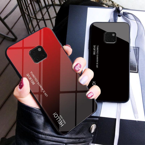 Luxury Gradient Tempered Glass Case For Huawei Mate 20 Pro