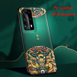 PU Leather 3D Relief Shockproof Case for Huawei SmartPhone